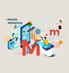 letter m with mobile marketing infographic vector image