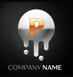 letter p splash logo golden dots silver bubbles vector image