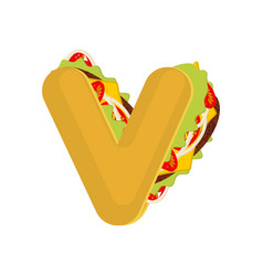 letter v tacos mexican fast food font taco vector image