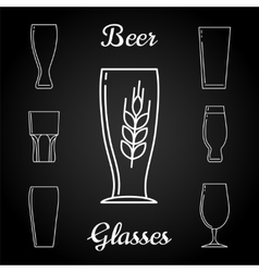 Line beer glasses icons on blackboard vector image