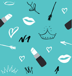 lipstick seamless pattern hand drawn fashion and vector image