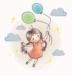little girl flying holding balloon vector image