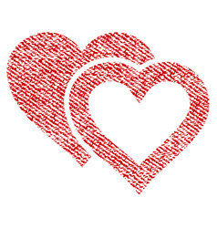 love hearts fabric textured icon vector image
