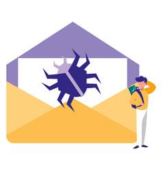 man using envelope mail vector image
