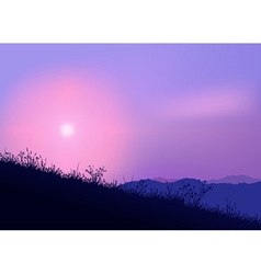 meadow and sunrise vector image