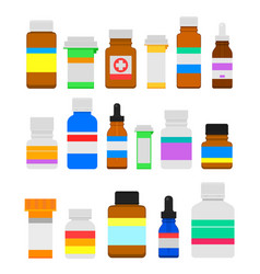 Medicine bottles flat set vector