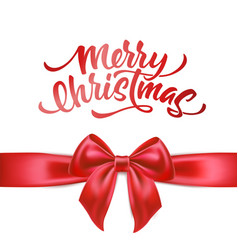 Merry christmas lettering with bow ribbon vector
