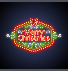 merry christmas neon sign on dark vector image