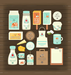 milk and dairy products vector image
