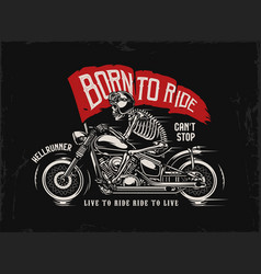 motorcycle vintage print vector image