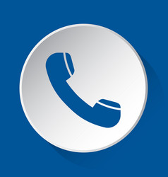 Old telephone handset - blue icon on white button vector