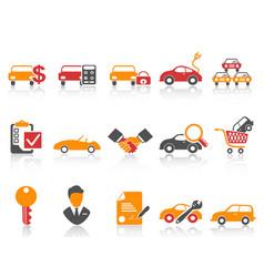 Orange red color series car dealer icons set vector