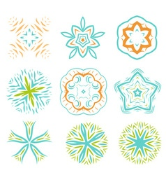 Ornament line art design colorful set vector image