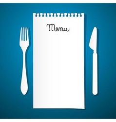 Paper Restaurant Menu with Knife and Fork on Blue vector image