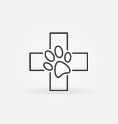 paw in cross outline icon vector image