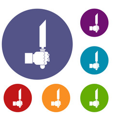 Pincer or plier in man hand icons set vector