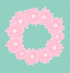 pink chrysanthemum wreath vector image