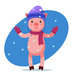 pink piggy looking at the falling snow vector image
