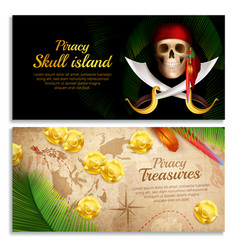 pirate banners set vector image