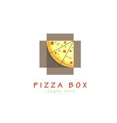 Pizza box logo vector