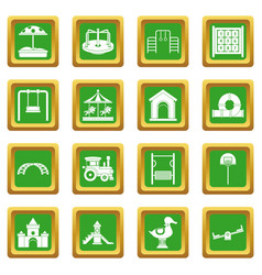 Playground icons set green vector