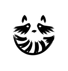 Raccoon face logo with striped tail logo vector