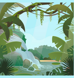 Rainforest in jungle with palms and waterfall vector