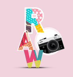 retro design with raw symbol and vintage camera vector image