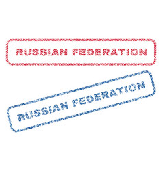 russian federation textile stamps vector image vector image