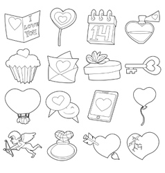 Saint Valentine icons set cartoon outline style vector image