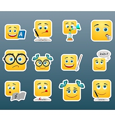 School smile stickers set vector image