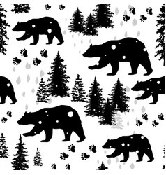 Seamless pattern with silhouettes of bears vector