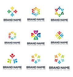Set colorful human team logo design vector