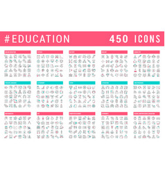 Set line icons education vector