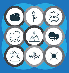 set of 9 nature icons includes love flower vector image