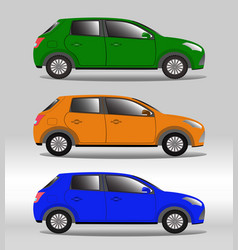 Set of family vehicles of different colors vector