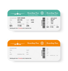 Set of the airline boarding pass tickets with vector