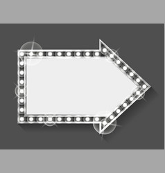 Shining empty banner with light bulbs retro frame vector
