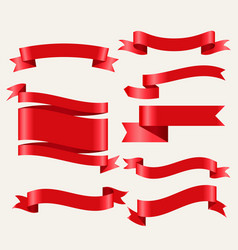 shiny red classic ribbons in 3d style vector image