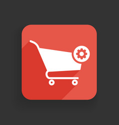 shopping cart icon with settings sign vector image