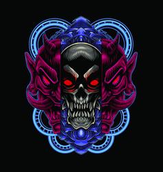 skull head mascot logo with oni mask vector image