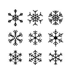 Snowflake icon set isolated on white background vector