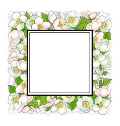 Square frame of cherry blossom branches vector