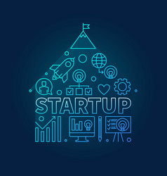 start-up icons in house shape blue in vector image