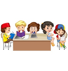 Students reading books in classroom vector image