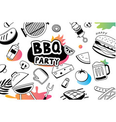 Summer bbq doodles symbol and objects icon for vector