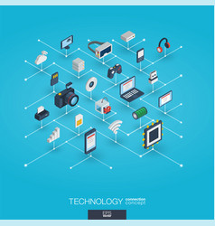technology integrated 3d web icons digital vector image