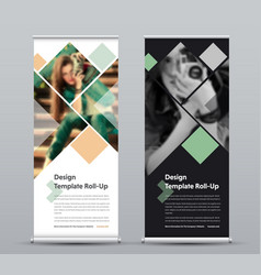 template of vertical roll-up banner with square vector image