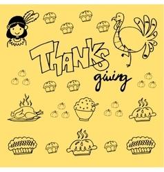 Thanksgiving element doodle vector image
