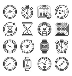 time and clock icons set on white background vector image